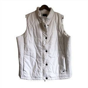 COTTON GINNY Puffer Zip Up Vest Jacket Top White